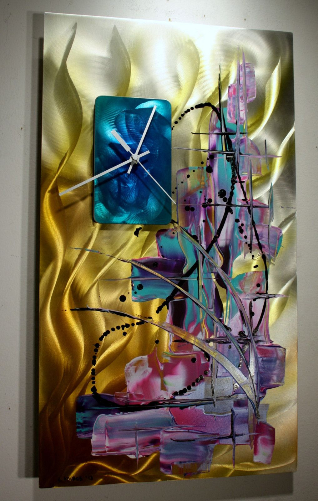 Metal wall art sculpture clock modern abstract painting decor linda kovacs k63 linda kovacs