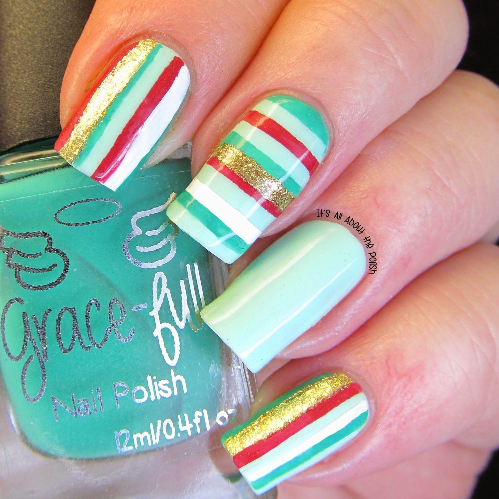 Concrete And Nail Polish Striped Nail Art: It's All About The Polish: Christmas Stripes Nail Art