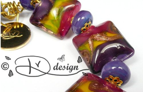 Squaire set lampwork beads purple yellow pink and by DVZdesign