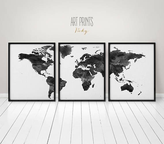 Black and white world map posters 3 pieces world map print wall black and white world map posters 3 pieces world map print wall art art print office wall art travel gift home decor artprintsvicky gumiabroncs Image collections