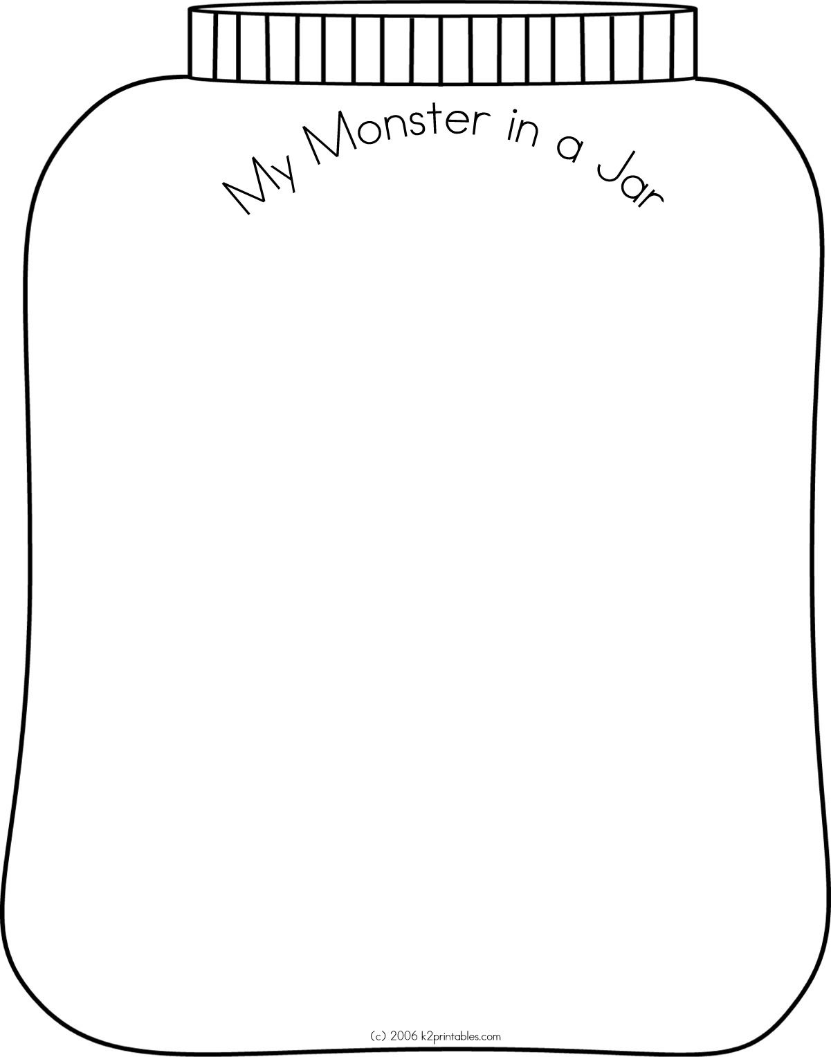 Monster in a jar. Draw a huge, squished monster in a jar