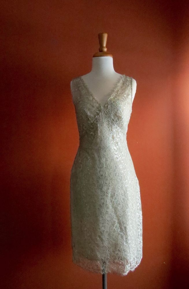 BCBG MAX AZRIA Lace Silver Gray Cocktail Night Out Dress Size 6 ...