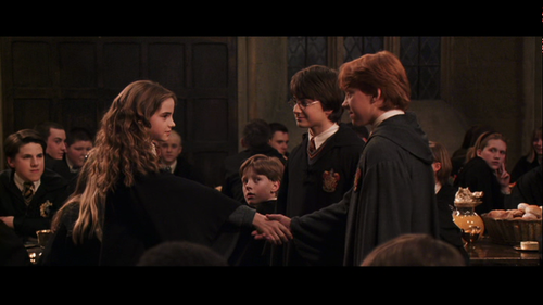 wholesome behind the scenes moments Hermione hugs Harry and not Ron