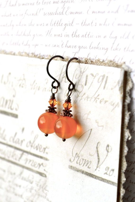 Photo of Orange Dangle Earrings, Carnelian Earrings, Orange Stone Earrings, Orange Carnelian, Vintage Style Carnelian Jewelry, Gemstone Earrings UK