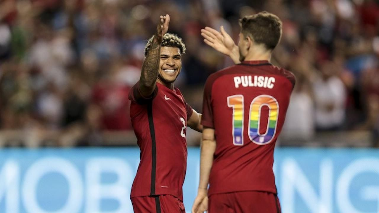 The  USMNT And  USWNT Wear Rainbow Numbers To Support  LGBTQ  PrideMonth   ChristianPulisic  DeAndreYedlin  soccerswag  soccerjerseys  soccerpride   rainbow ... ea7363f41