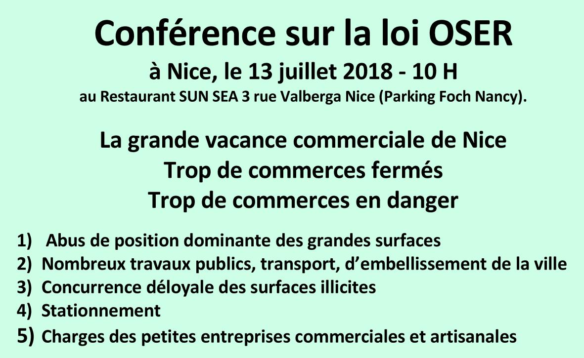 2018-07-13- · CONFERENCE A NICE SUR LA LOI OSER du 13 juillet 2018 · COMMERCES EN DANGER