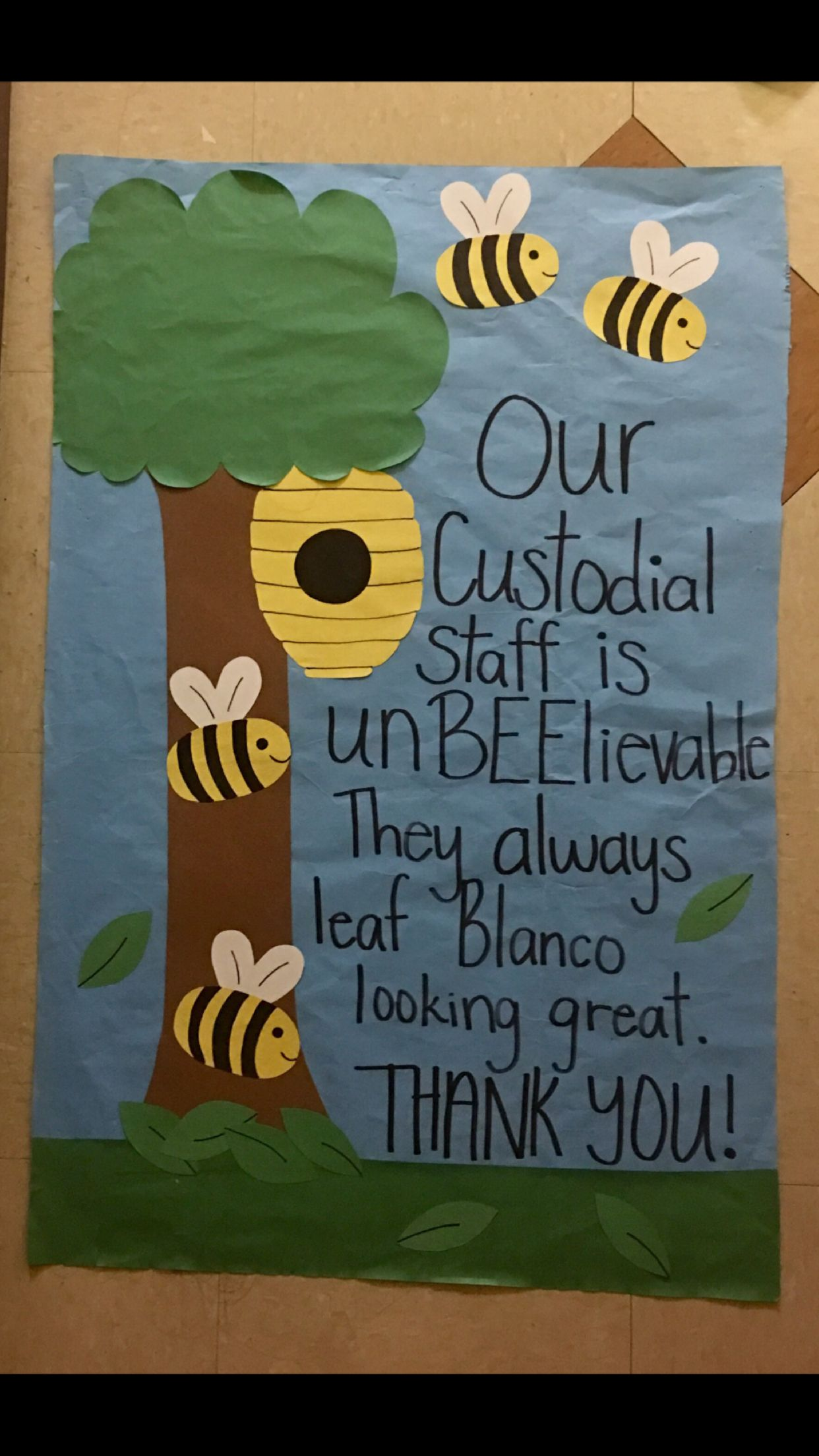 Custodial Appreciation #ra #ralife #passive #bulletinboard #custodialappreciation #bees #custodianappreciationgifts