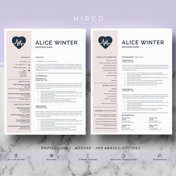 Nurse Resume Template | Doctor Resume Template for MS Word | RN ...