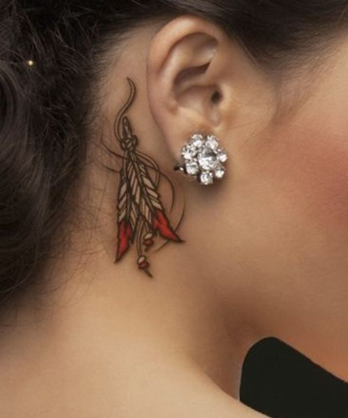New Magnificent Tattoo Design Behind The Ear For Girls Indian Feather Tattoos Tattoos Ribbon Tattoos