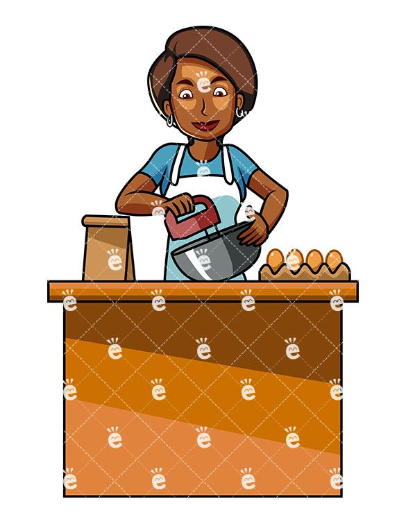 Black Woman Using Mixer While Baking Cartoon Vector Clipart Friendlystock In 2021 African Food Cooking Clipart Black Women