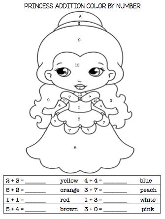 kindergarten first grade princess addition subtraction. Black Bedroom Furniture Sets. Home Design Ideas