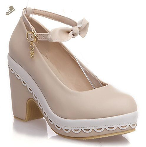 69a6157b0a2c Sfnld Women s Sweet Round Toe Low Cut Platform Ankle Strap High Chunky Heel  Pumps with Bow