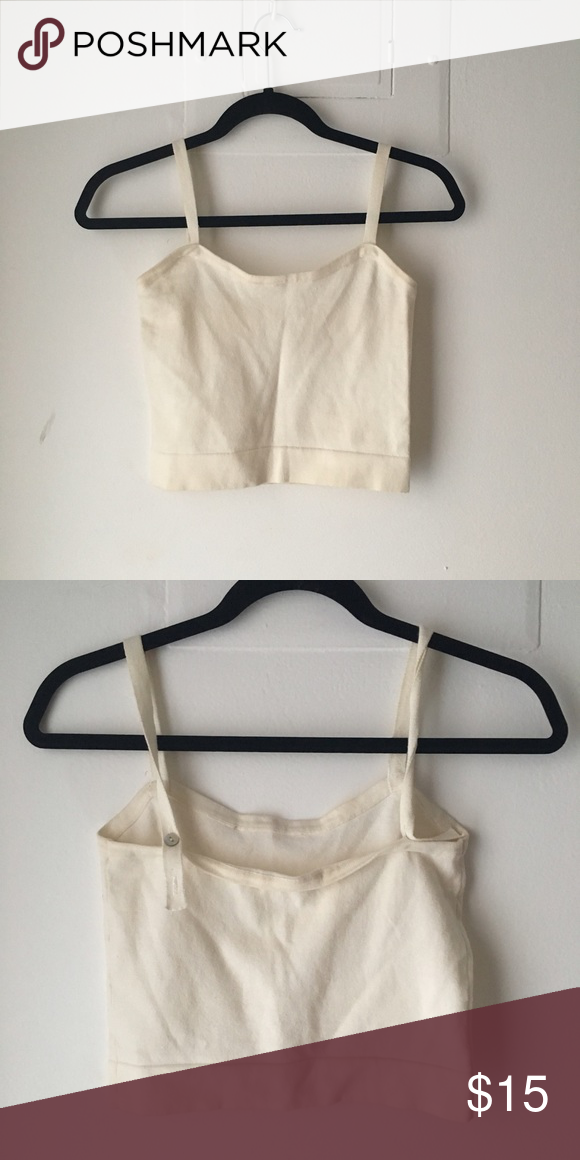 Cream brandy Melville crop Cute and flattering shape Brandy Melville Tops Crop Tops