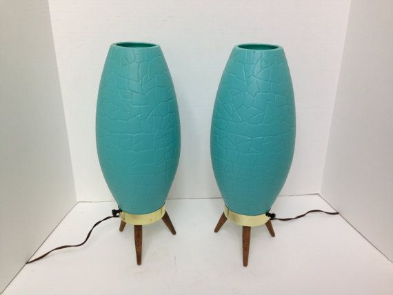 RESERVED Vintage Pair of Atomic Beehive Lamps by MidCenturyMary
