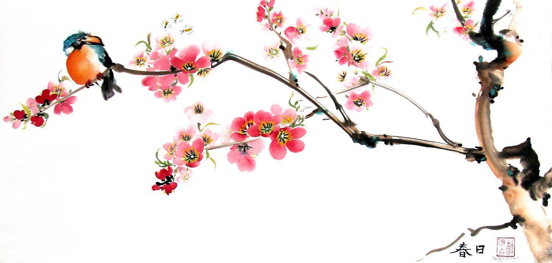 Amazon Com Kingfisher On The Cherry Blossom Tree Giclee Print Of Chinese Brush Paintin Cherry Blossom Painting Cherry Blossom Wall Art Cherry Blossom Drawing