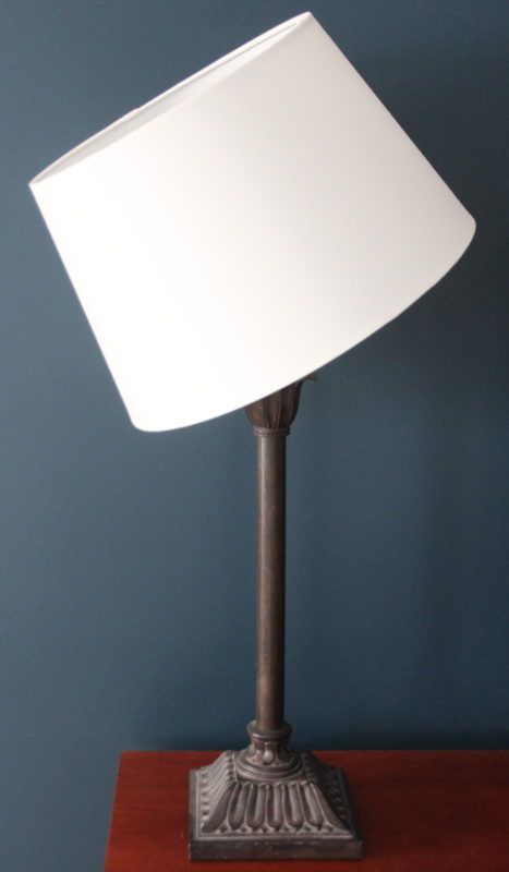 An ikea lamp shade hacked to fit on a non ikea lamp base