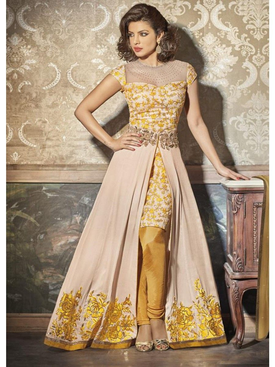 Georgette A-Line Suit With Skirt Featuring Mega Star Priyanka ...