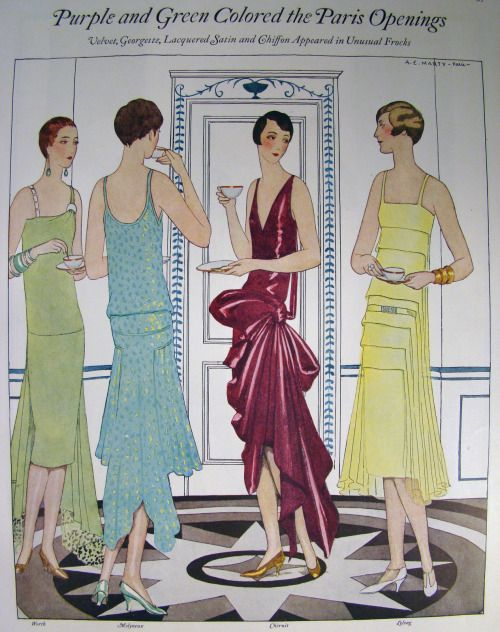 """1928 Winter designer evening gowns from """"Ladies' Home Journal""""."""