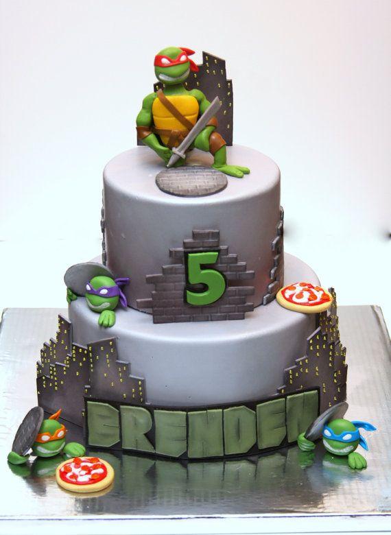 Teenage Mutant Ninja Turtles Fondant Cake Topper Turtle Birthday Cake Ninja Turtle Birthday Cake Ninja Turtle Cake