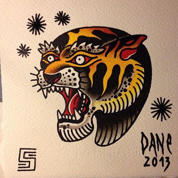 Dane soos traditional american old school tiger tattoo for Tattoo school listings
