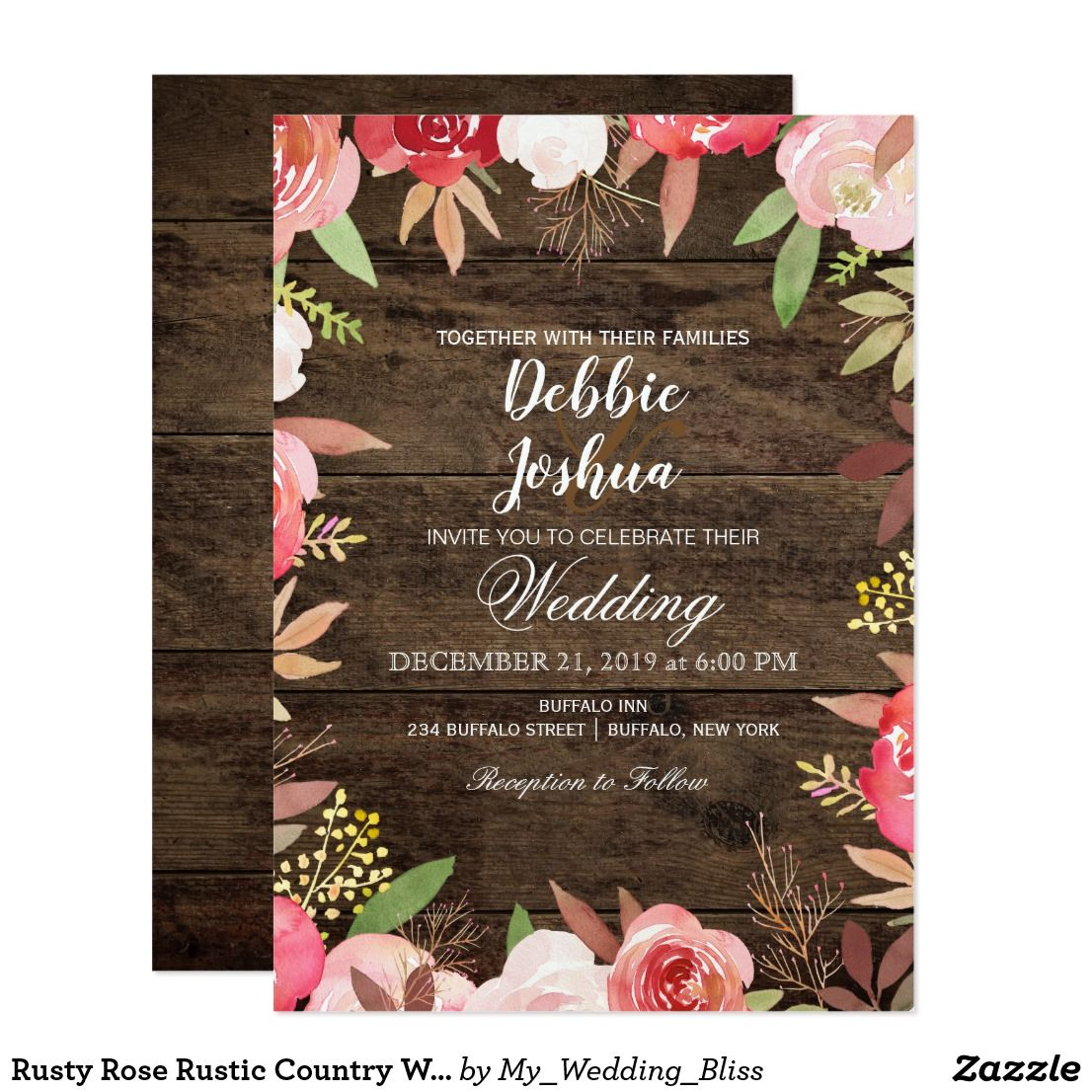 Rusty Rose Rustic Country Wedding Invitation In 2018 Wedding