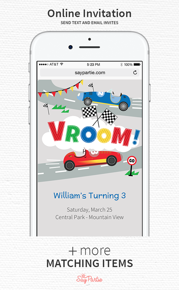 Send Text And Email Invites With Our Race Car Online Invitation