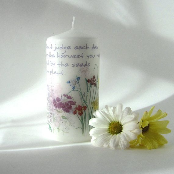 Flower Garden Pillar Candle with Inspirational Quote