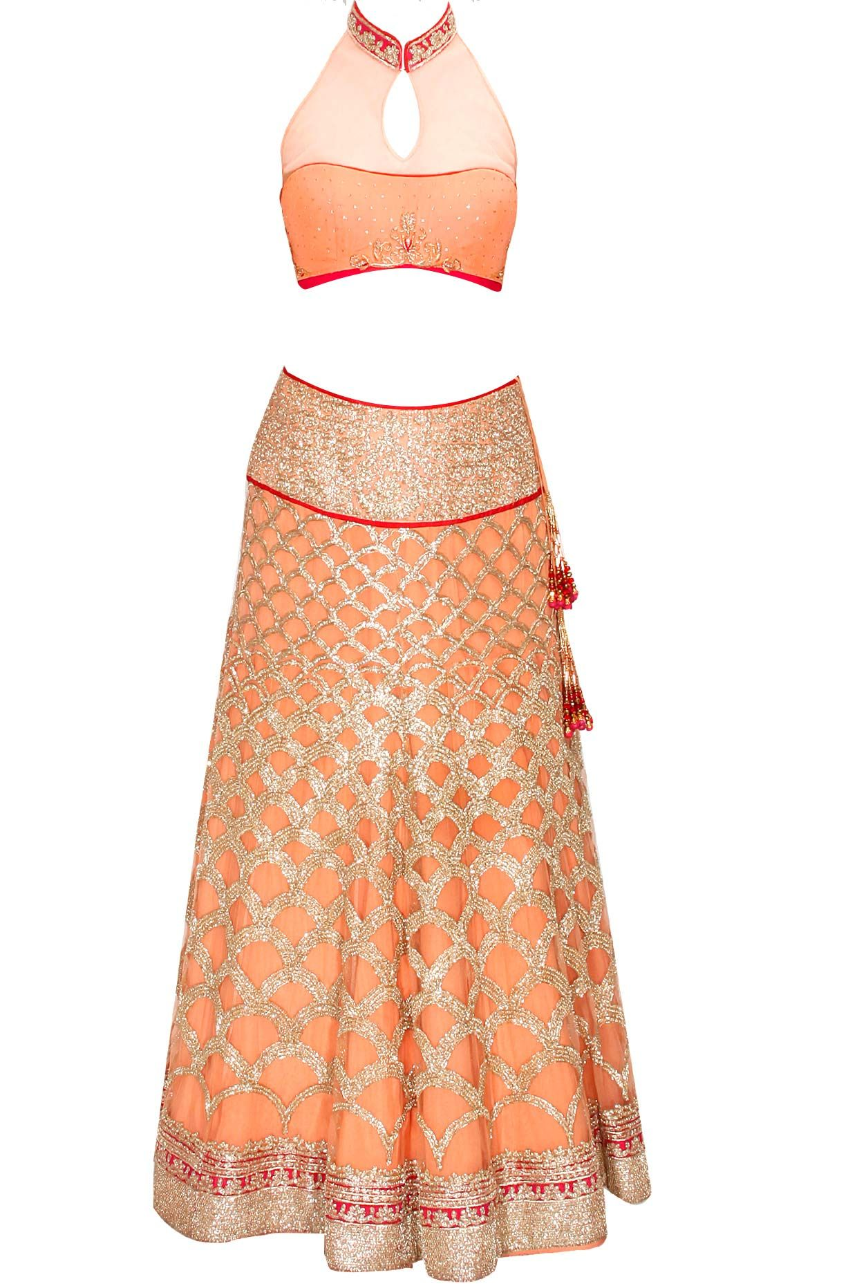 Peach zari embroidered lehenga set available only at Pernia's Pop-Up Shop.
