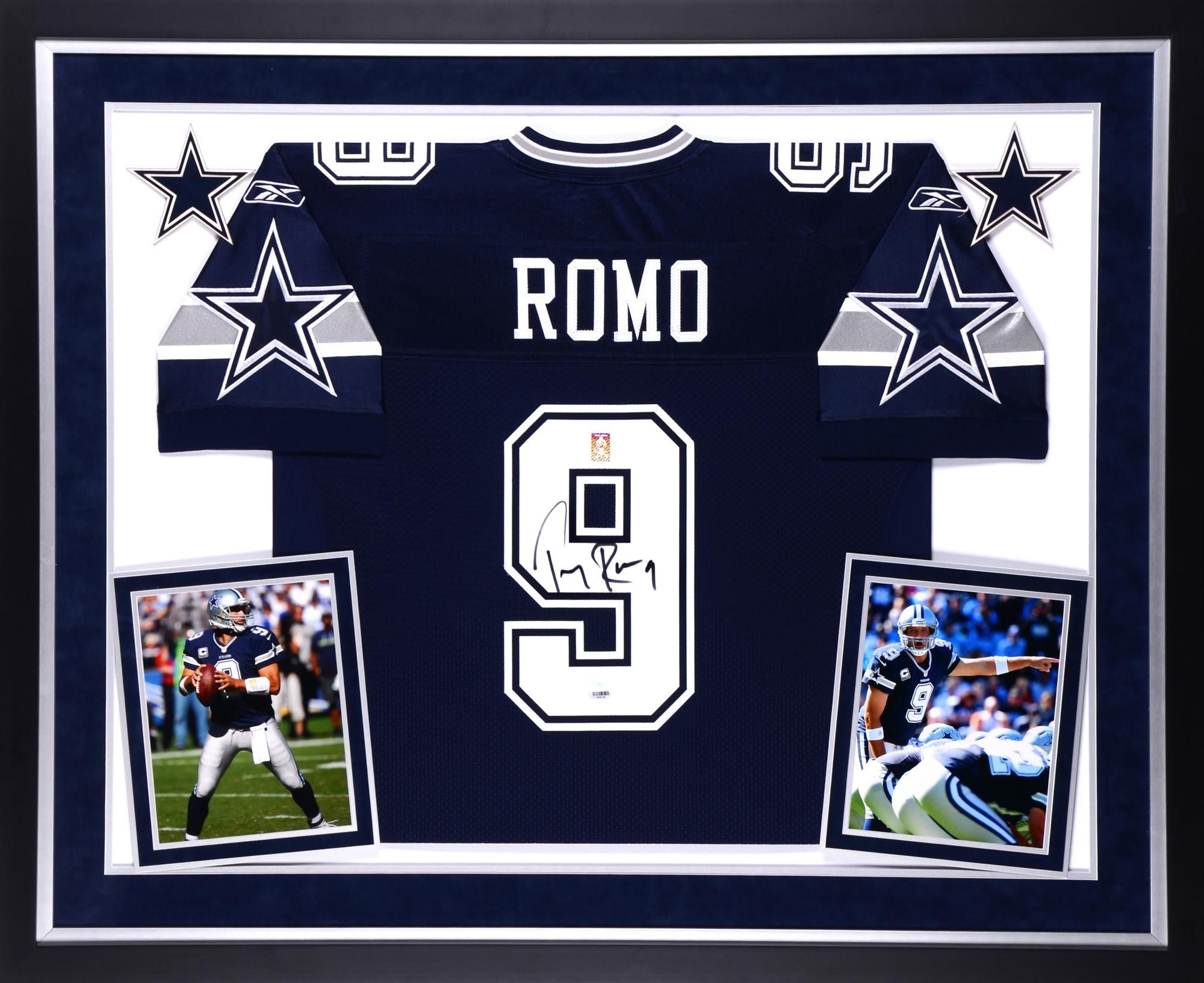 83cb8dbf235 ... Tony Romo Dallas Cowboys Autographed Deluxe Framed Navy Blue Reebok  Authentic Jersey ...