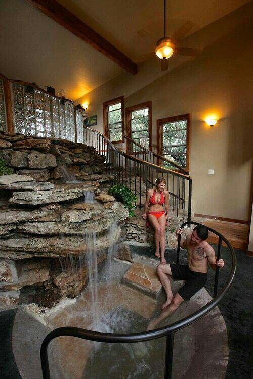 Wonderful Indoor Waterfall Pool. Would Be Awesome For The Master Bedroom.
