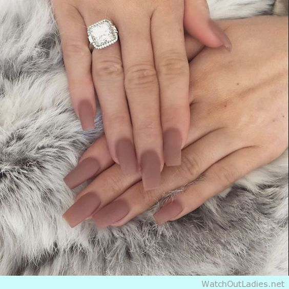 Brown matte nails to stand out engagement ring | Nail Art | Pinterest