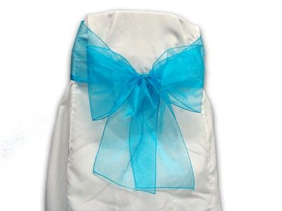 White folding chair covers with teal bow. $3.00 per chair.