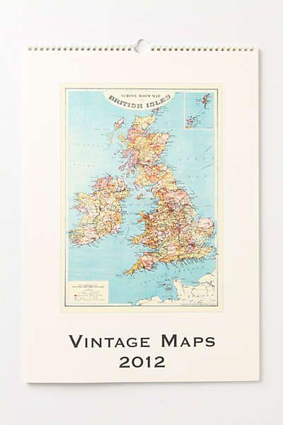 Anthropologie - Vintage Maps Wall Calendar Boys rooms Pinterest