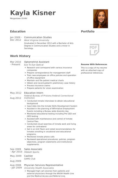 Optometrist Assistant Resume Example Resume Optometrist Communication Studies