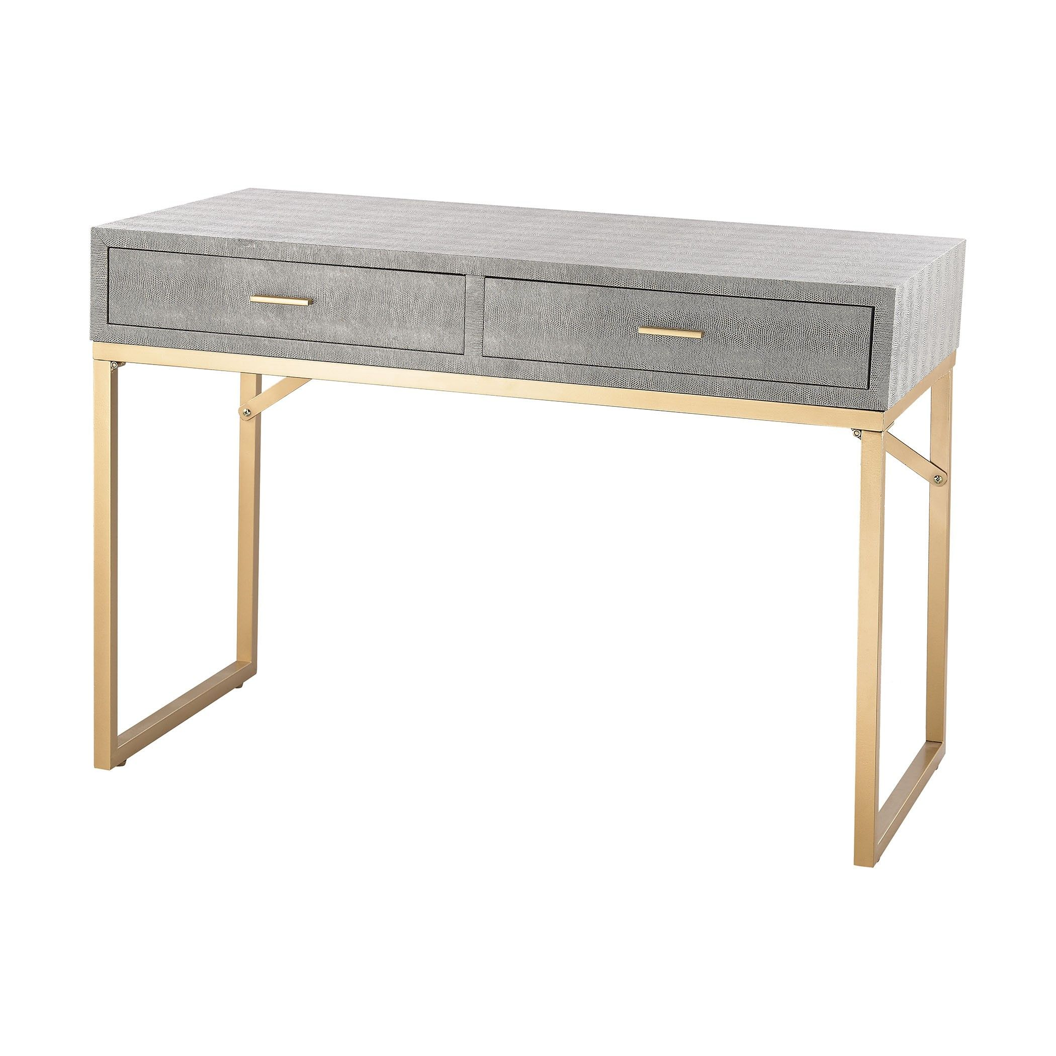 Sterling Beaufort Point Desk 3169-025T - Sterling Beaufort Point Desk 3169-025TSKU: 3169-025TManufacturer: SterlingCategory: FurnitureCollection: BeaufortType: DeskFinish: Gold,GreyMaterial: Wood,MetalUPC: 843558149704Country Of Manufacturer: ChinaDimensions 1: 39 W x 16 L x 31 H Inches, Weight: 28.2 LbsCarton Dimension: 18 W x 33 L x 42 H Inches, Weight: 30 Lbs