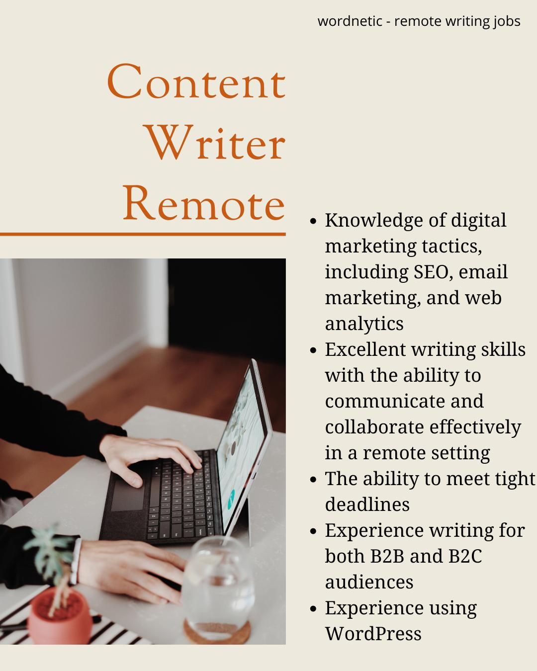 Content Writer Remote Jobs Wordnetic Writing Jobs Writing Skills Writing