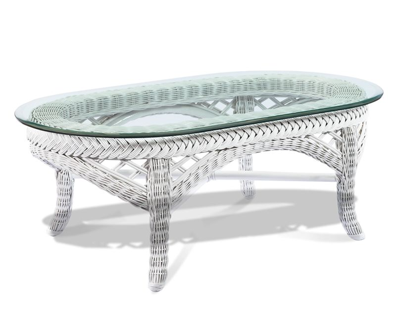 Perfect Lanai Oval White Wicker Coffee Table With Glass Top $399.00