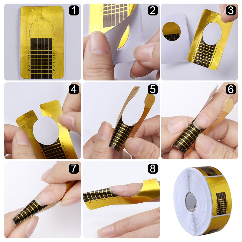 1 Pc Transparent Nail Form Shelf Holder 500pcs Nail Form Acrylic UV ...