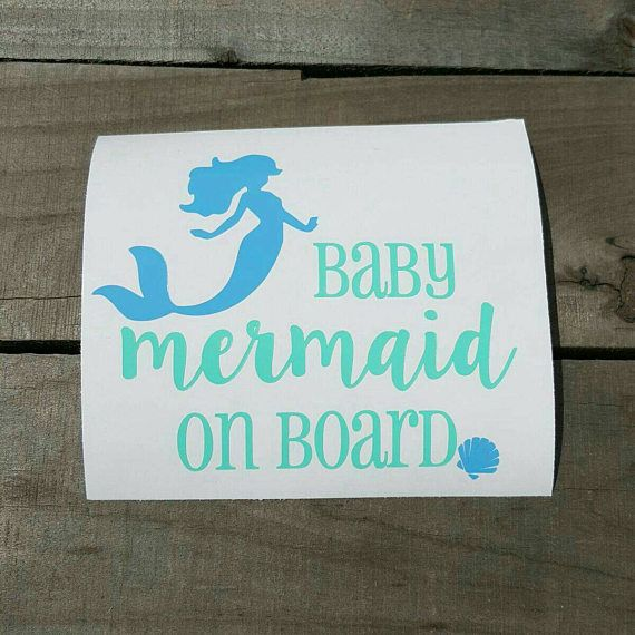 Baby Mermaid On Board Vinyl Decal Baby Mermaid And Mermaid - Mermaid custom vinyl decals for car