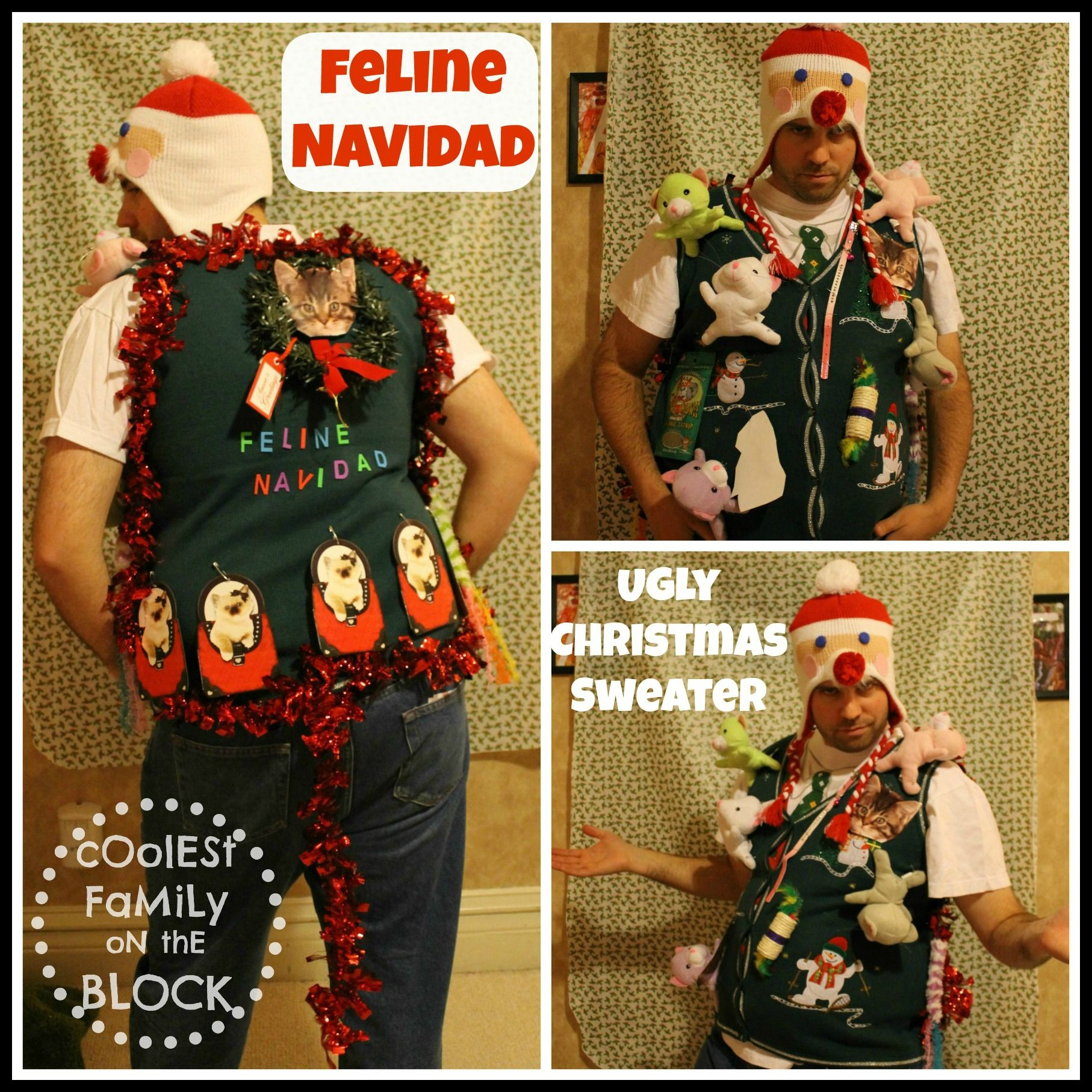 Feline Navidad Ugly Christmas Sweatera Fancy Feast For The Eyes