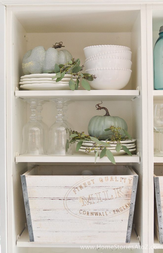 cabinet-fall-decor-homestoriesatoz                                                                                                                                                                                 More #falldecor