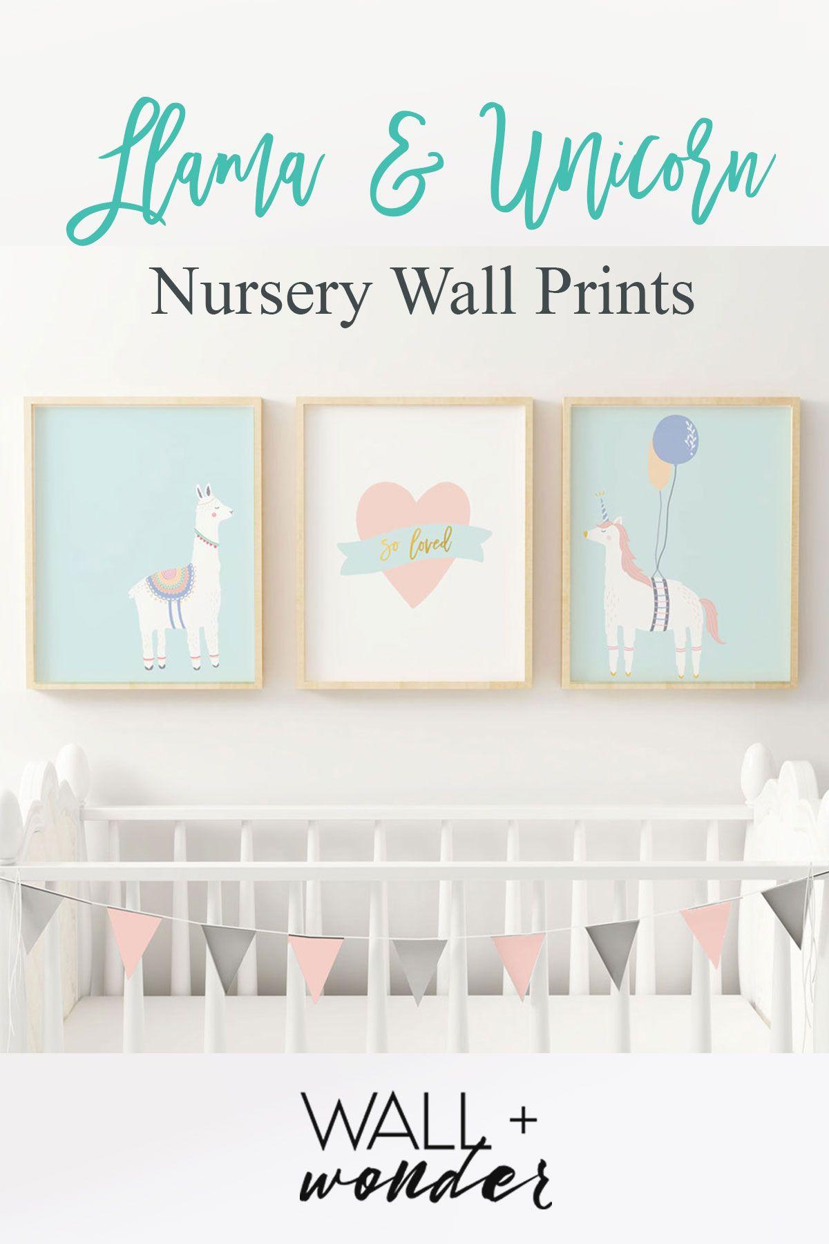 Llama Nursery Print Set Unicorn Wall Art