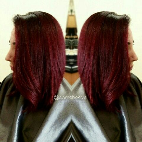 Red Hair Long Bob Haircut Bright Red Shadow Root Hair
