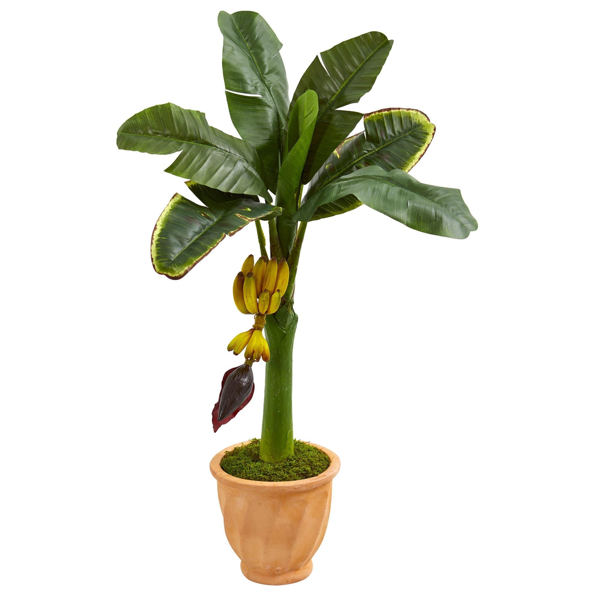 Nearly natural u banana artificial tree in terracotta planter