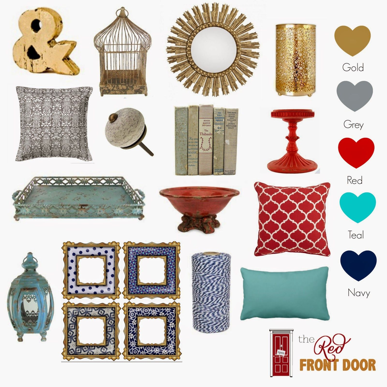 The Red Front Door And A Touch Of Gold Living Room Red Teal Living Rooms Living Room Colors #red #and #teal #living #room #ideas