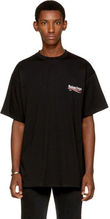f397a7f9 Balenciaga Black Campaign Logo T-Shirt | Style | Balenciaga shirt ...