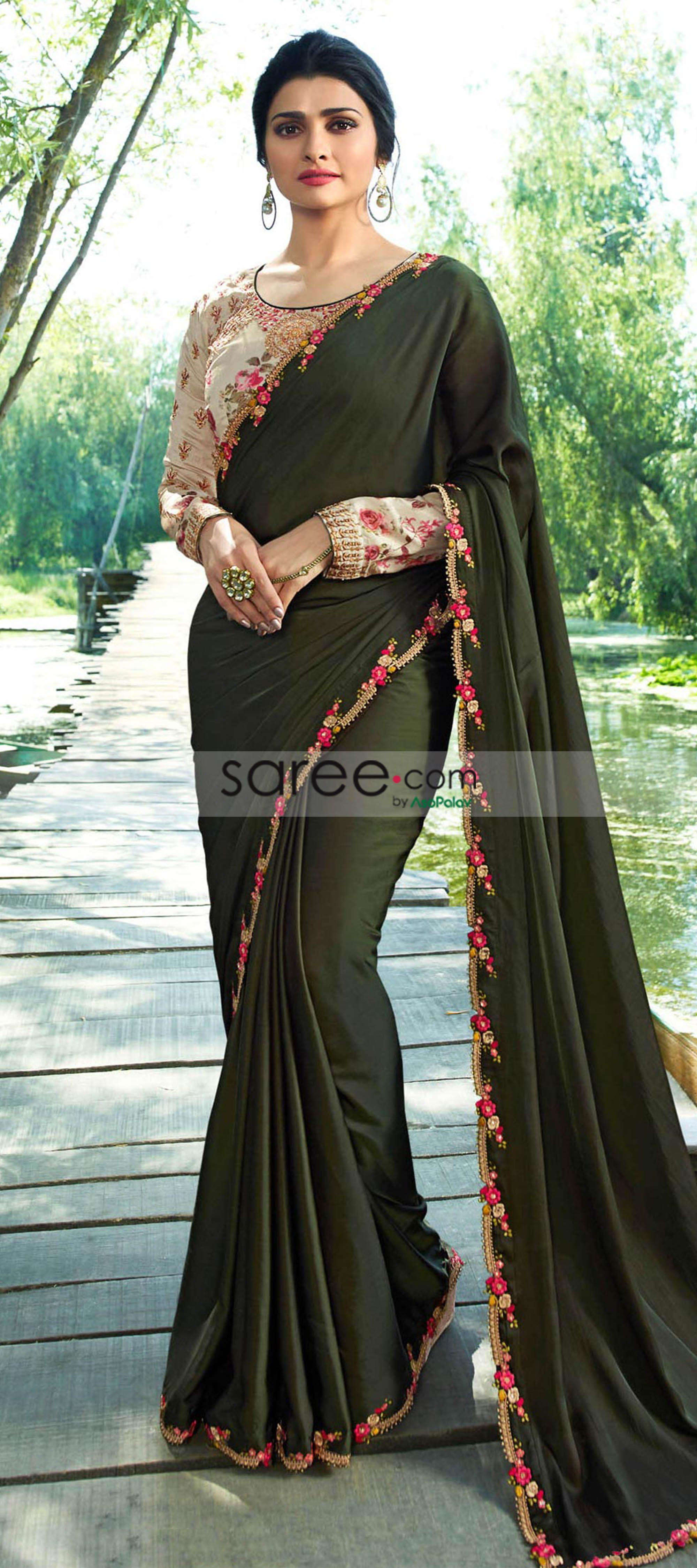 41693dcf292139 Prachi Desai Olive Green Satin Silk Plain Saree With Designer Blouse. OLIVE GREEN  PARTY WEAR SAREE