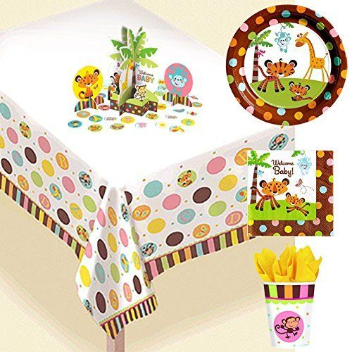 Fisher Price Baby Shower Jungle Party Supply Bundle (16 Guests)   Includes  Plates,