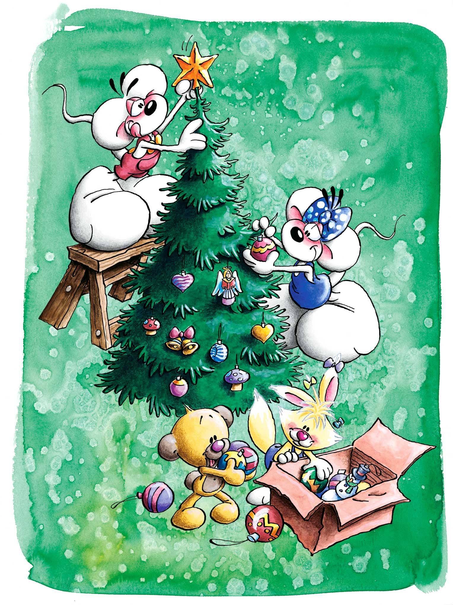 Kerstboom Optuigen Diddl Op Bankje Met Diddlina En Beer En Konijn Kerstmis Kerst Kerstmis Kerstboom