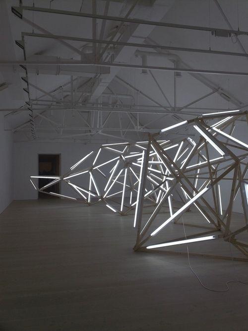 Light tube art installation by Björn Dahlem